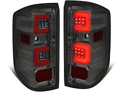 Dual Red C-Bar LED Tail Lights; Chrome Housing; Smoked Lens (14-18 Sierra 1500 w/o Factory LED Tail Lights)