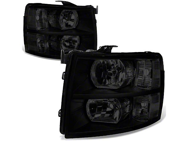 Headlights with Clear Corner Lights; Black Housing; Smoked Lens (07-13 Silverado 1500)