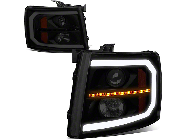 Sequential LED Turn Signal Projector Headlights with Amber Corner Lights; Black Housing; Smoked Lens (07-13 Silverado 1500)