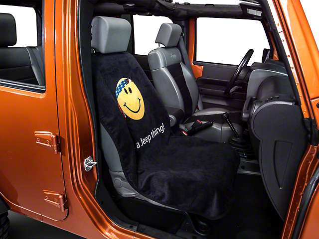 Seat Armour Jeep Smiley Face Seat Cover - Black (87-18 Wrangler YJ, TJ, JK & JL)