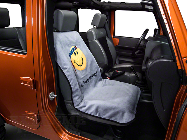 Seat Cover with Jeep Smiley Face; Gray (87-21 Jeep Wrangler YJ, TJ, JK & JL)