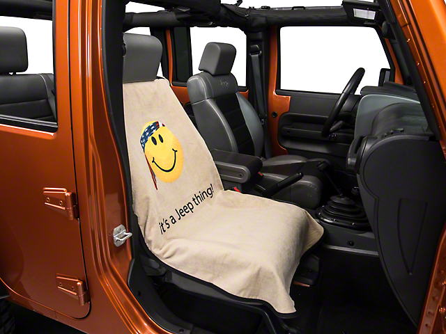 Seat Armour Jeep Smiley Face Seat Cover - Tan (87-18 Wrangler YJ, TJ, JK & JL)