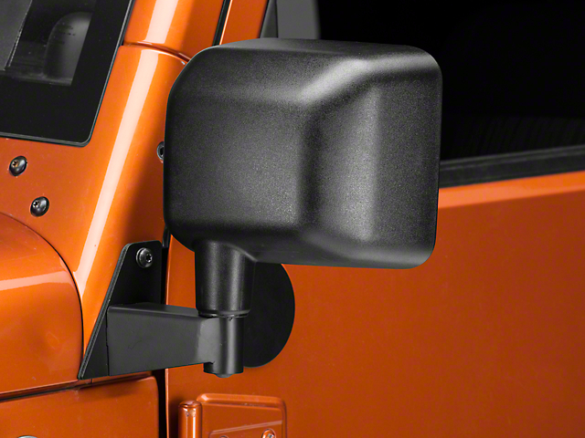 Rough Trail Mirror Relocation Brackets - Black (07-17 Wrangler JK)