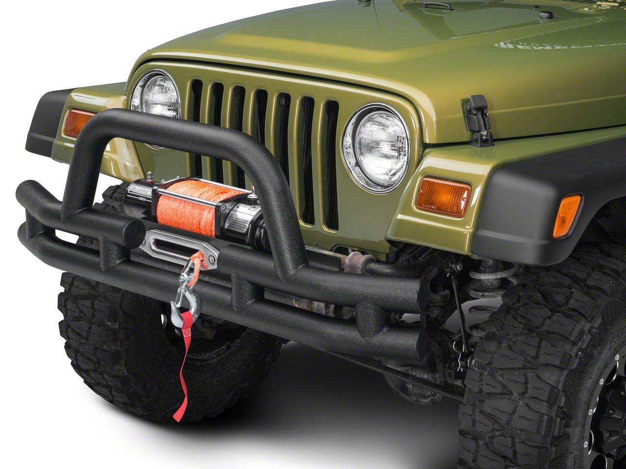Barricade Front Tubular Bumper w/ Winch Cutout - Textured Black (87-06 Wrangler YJ & TJ)