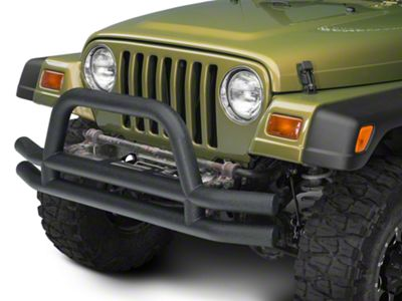Add Barricade Double Tubular Front Bumper w/ Hoop Over-Rider - Textured Black (87-06 Wrangler YJ & TJ)