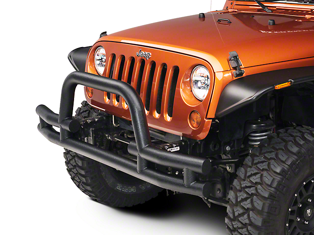 Barricade Tubular Front Bumper with Winch Cutout; Textured Black (07-18 Jeep Wrangler JK)