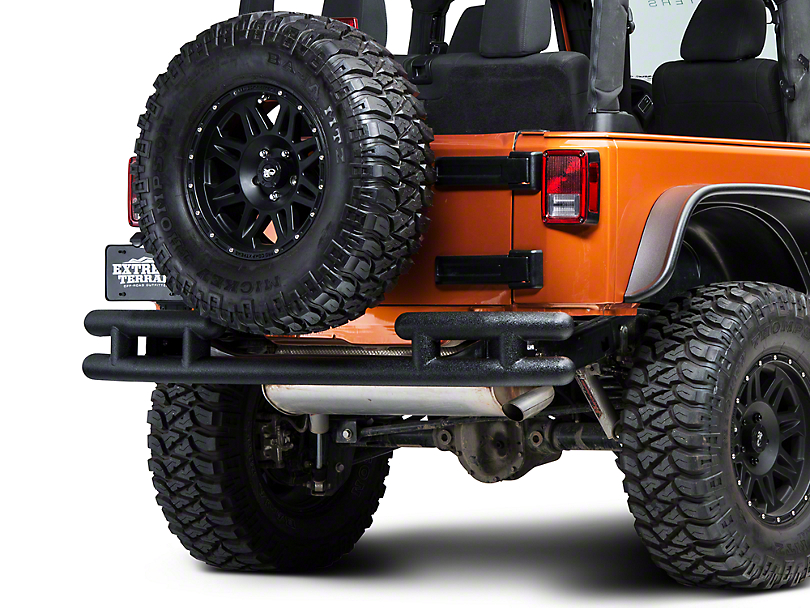 Barricade Rear Tubular Bumper - Textured Black (07-18 Jeep Wrangler JK)