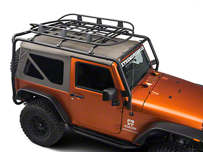 Barricade Roof Rack Basket - Textured Black (07-18 Jeep Wrangler JK; 2018 Jeep Wrangler JL)