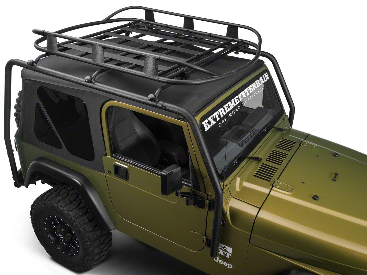 Barricade Jeep Wrangler Roof Rack Basket Textured Black J100175b 87 06 Jeep Wrangler Yj Tj