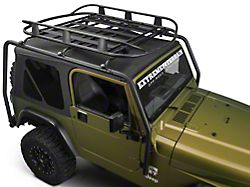 Barricade Roof Rack Basket; Textured Black (87-06 Jeep Wrangler TJ & YJ)