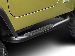 RedRock 4x4 3 in. Round Side Step Bars - Textured Black (87-06 Jeep Wrangler YJ & TJ, Excluding Unlimited)