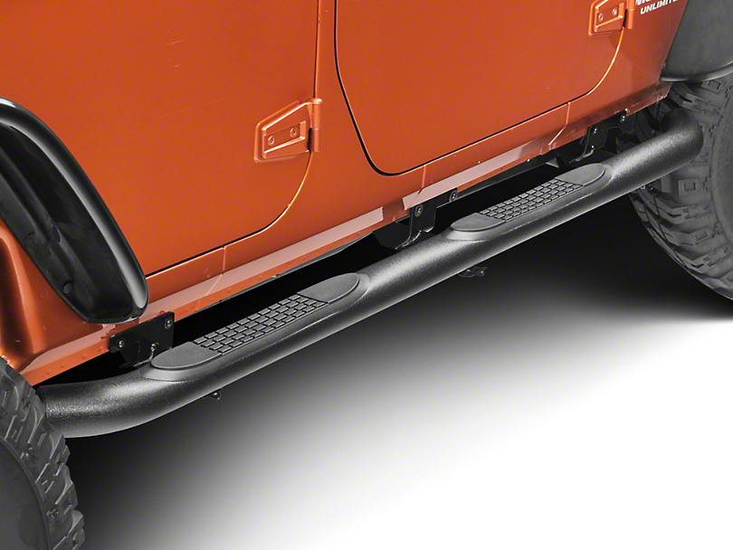 RedRock 4x4 3 in. Round Curved Side Step Bars - Textured Black (07-18 Jeep Wrangler JK 4 Door)