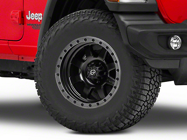 Fuel Wheels Trophy Matte Black with Anthracite Ring Wheel; 17x8.5 (18-20 Jeep Wrangler JL)