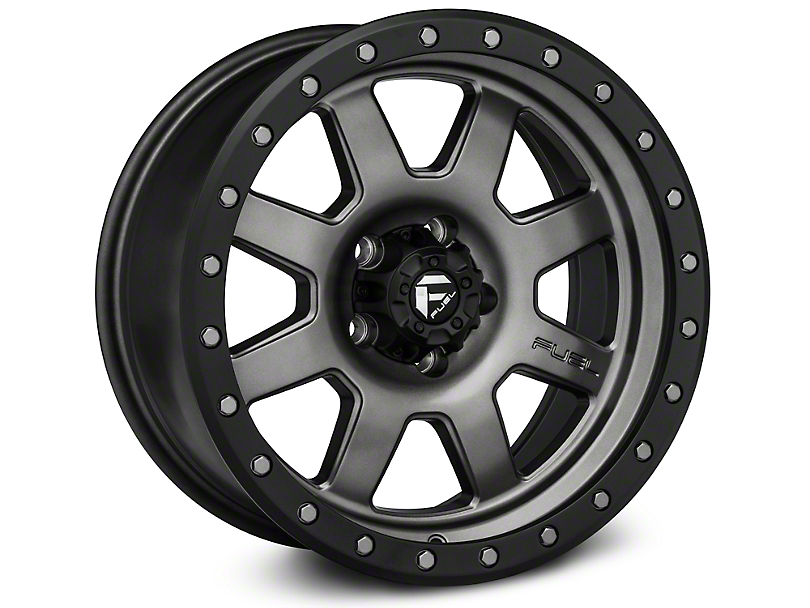 Fuel Wheels Trophy Matte Anthracite w/ Black Ring Wheel - 17x8.5 (87-06 Wrangler YJ & TJ)