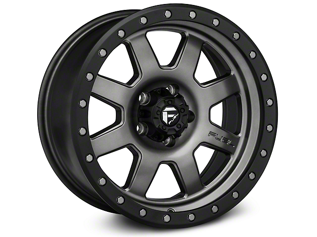Fuel Wheels Trophy Matte Anthracite w/ Black Ring Wheel - 17x8.5 (87-06 Jeep Wrangler YJ & TJ)
