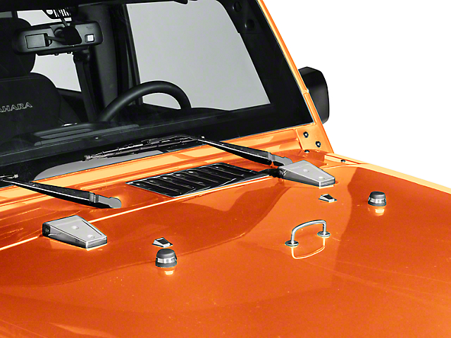 Rugged Ridge Hood Dressup Kit; Stainless Steel (13-18 Jeep Wrangler JK)