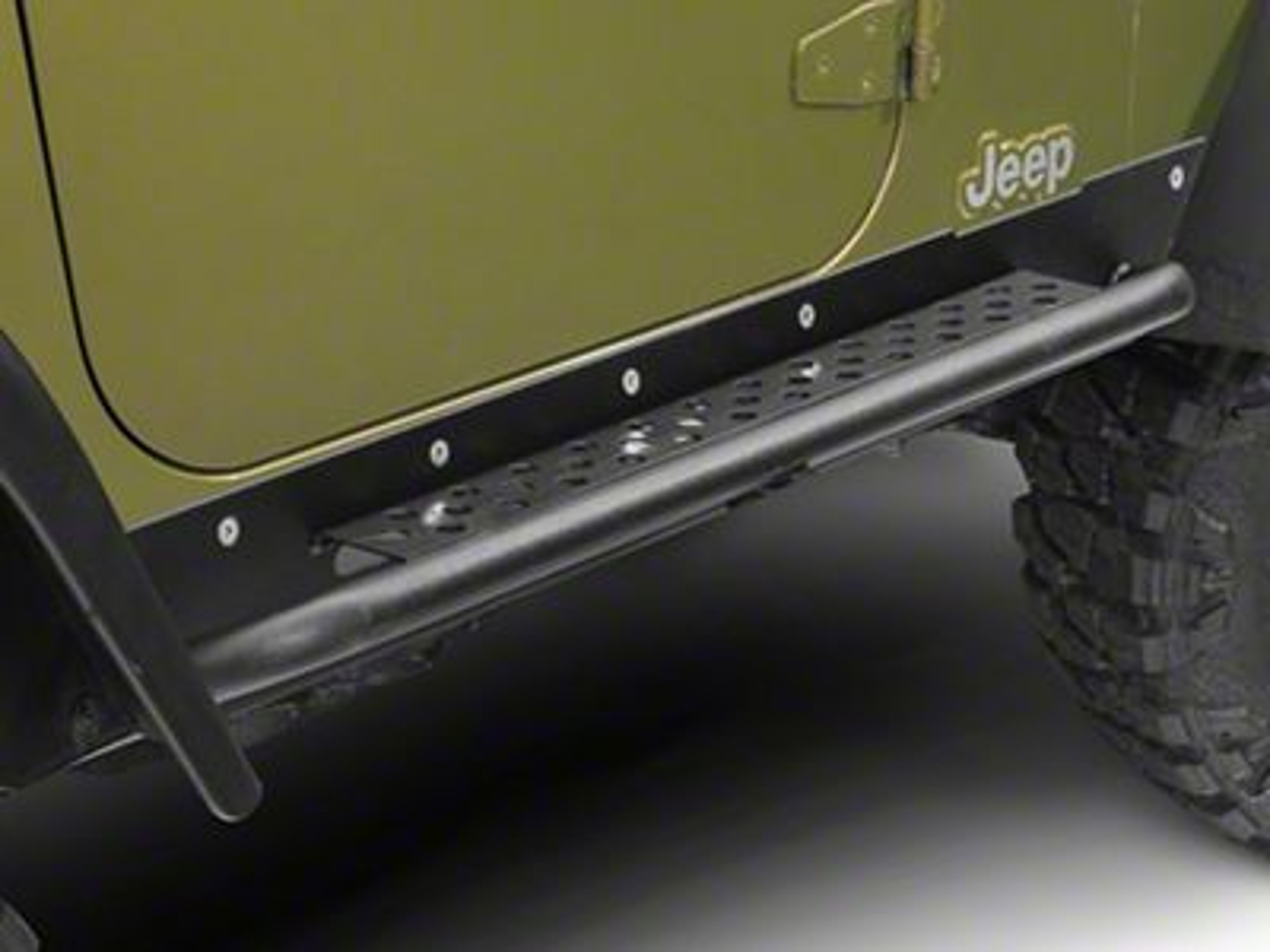 Fits Jeep Black Tj Wrangler 3 1//2 Diamond Plate Rocker Guards Panels