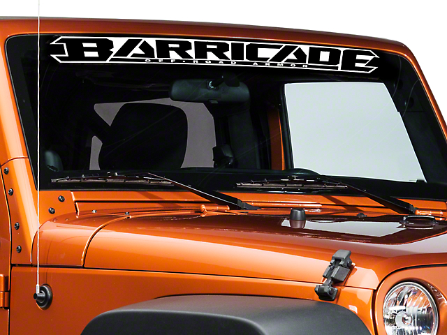 SEC10 Barricade Windshield Decal; White (87-20 Jeep Wrangler YJ, TJ, JK & JL)