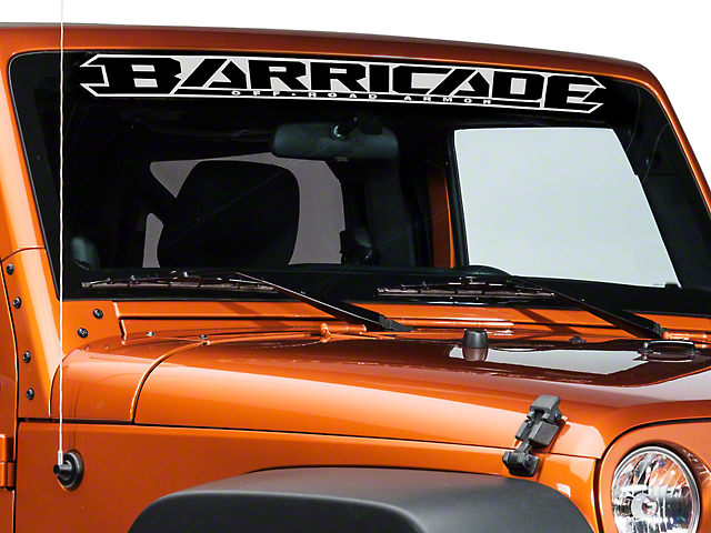 SEC10 Barricade Windshield Decal; Silver (87-20 Jeep Wrangler YJ, TJ, JK & JL)