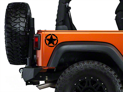 XT Graphics Small On The Move Stars - Black - Pair (87-18 Jeep Wrangler YJ, TJ, JK & JL)