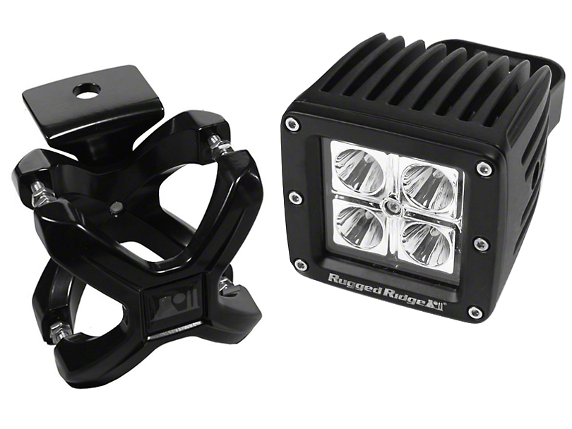 Rugged Ridge Black X-Clamp for 2.25-3 in. Tubing & 3 in. Square LED Light Kit