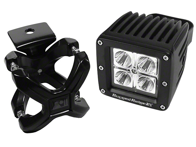 Rugged Ridge 3-Inch Square LED Light with Large X-Clamp Kit; Black