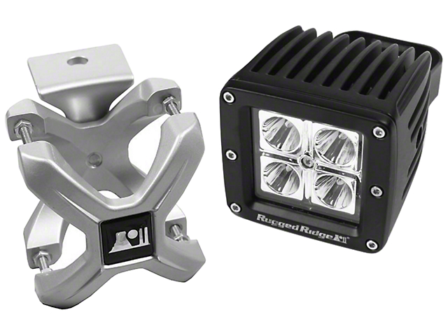 Rugged Ridge Silver X-Clamp for 2.25-3 in. Tubing & 3 in. Square LED Light Kit