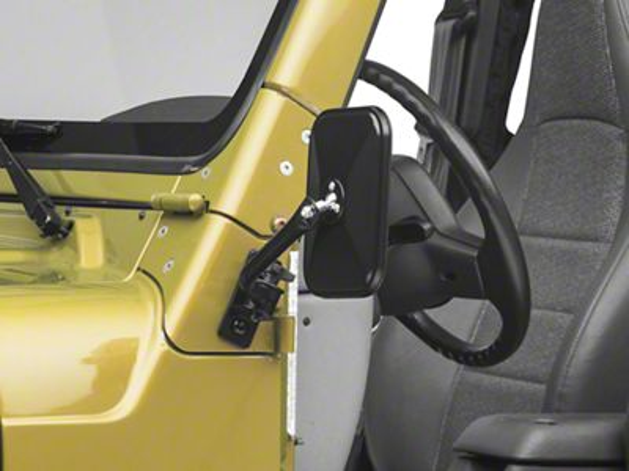 Rugged Ridge Quick Release Rectangular Mirror - Black (97-06 Jeep Wrangler TJ)