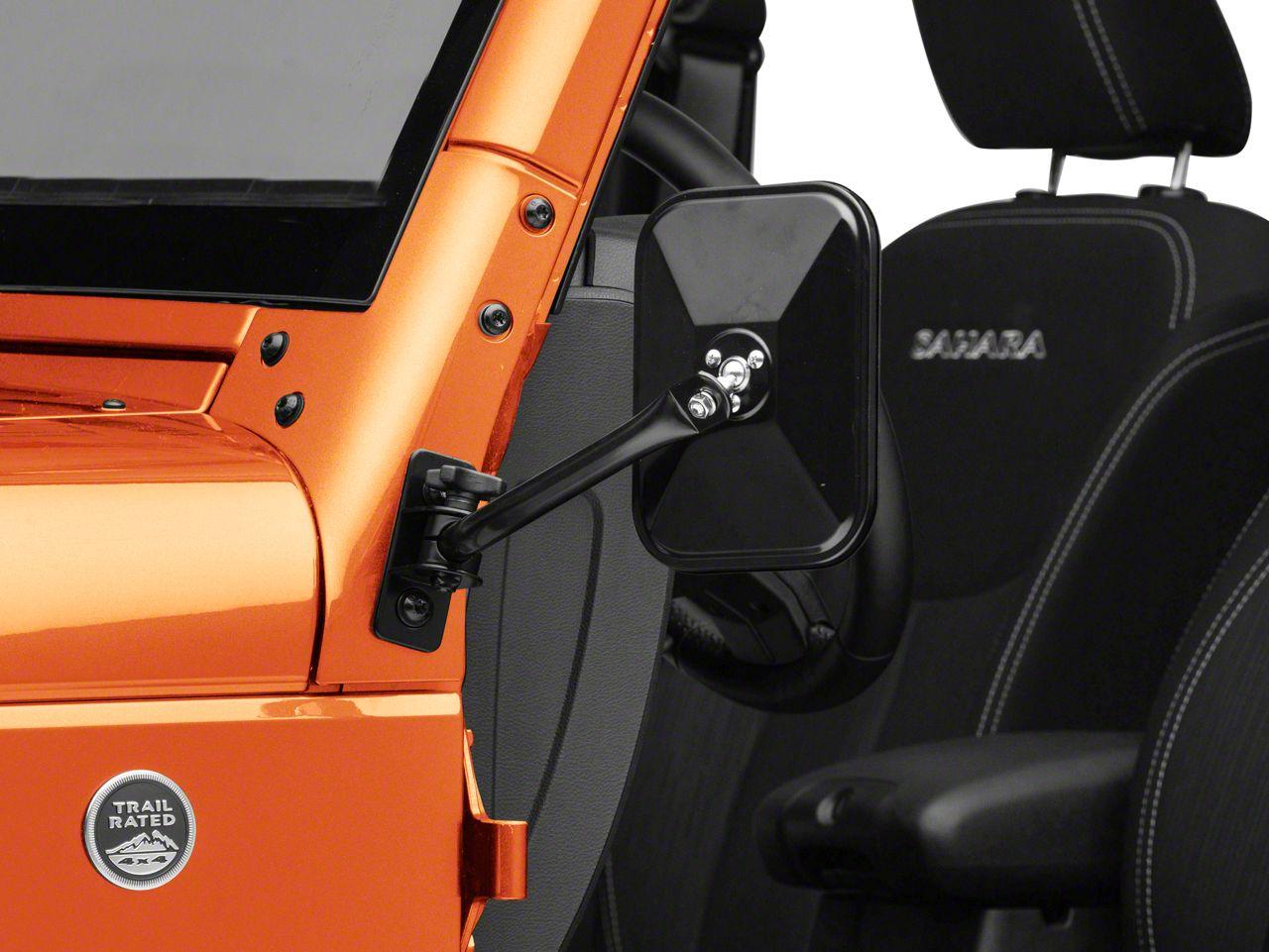 Rugged Ridge Quick Release Rectangular Mirror - Black (07-18 Jeep Wrangler JK)