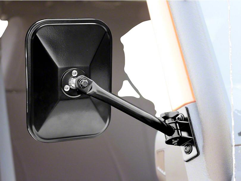 Rugged Ridge Quick Release Rectangular Mirrors; Black (97-06 Jeep Wrangler TJ)
