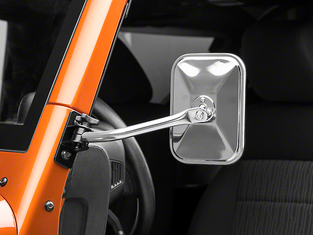 Rugged Ridge Quick Release Rectangular Mirror - Stainless Steel (97-18 Jeep Wrangler TJ & JK)