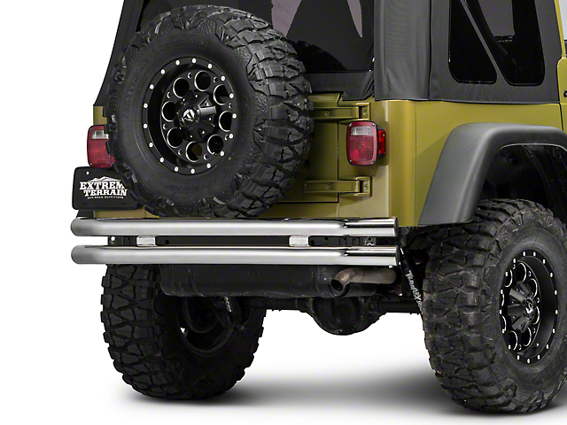 Barricade Double Tubular Rear Bumper; Polished (76-06 Jeep CJ, Wrangler YJ & TJ)