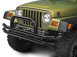 Barricade Double Tubular Front Bumper w/ Classic Over-Rider Hoop - Gloss Black (87-06 Jeep Wrangler YJ & TJ)