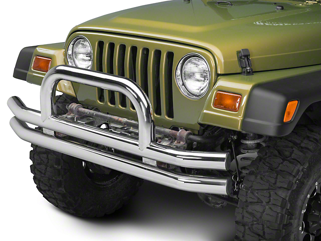 Barricade Double Tubular Front Bumper with Classic Over-Rider Hoop; Polished (87-06 Jeep Wrangler YJ & TJ)