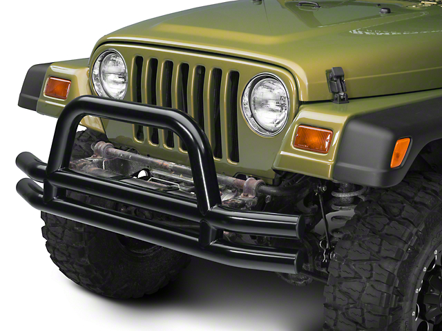 Barricade Double Tubular Front Bumper with Classic Over-Rider Hoop; Gloss Black (87-06 Jeep Wrangler YJ & TJ)