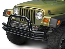 Barricade Double Tubular Front Bumper w/ Hoop Over-Rider - Gloss Black (87-06 Jeep Wrangler YJ & TJ)