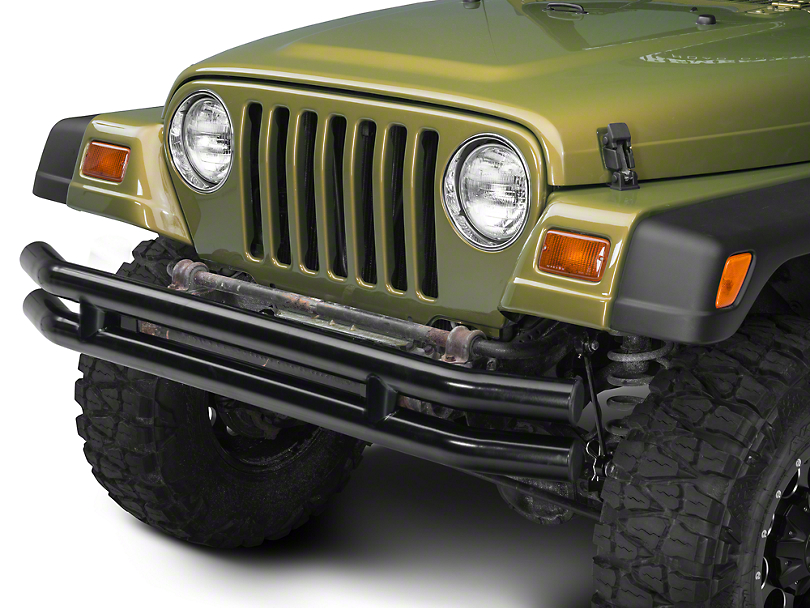 Barricade Double Tubular Front Bumper - Gloss Black (87-06 Jeep Wrangler YJ & TJ)