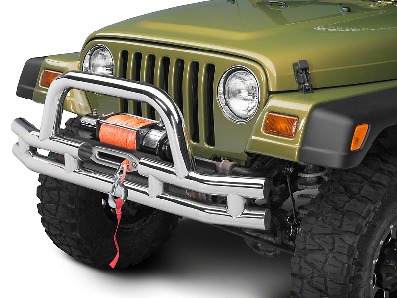 Barricade Double Tubular Front Bumper w/ Winch Cutout - Polished (87-06 Wrangler YJ & TJ)