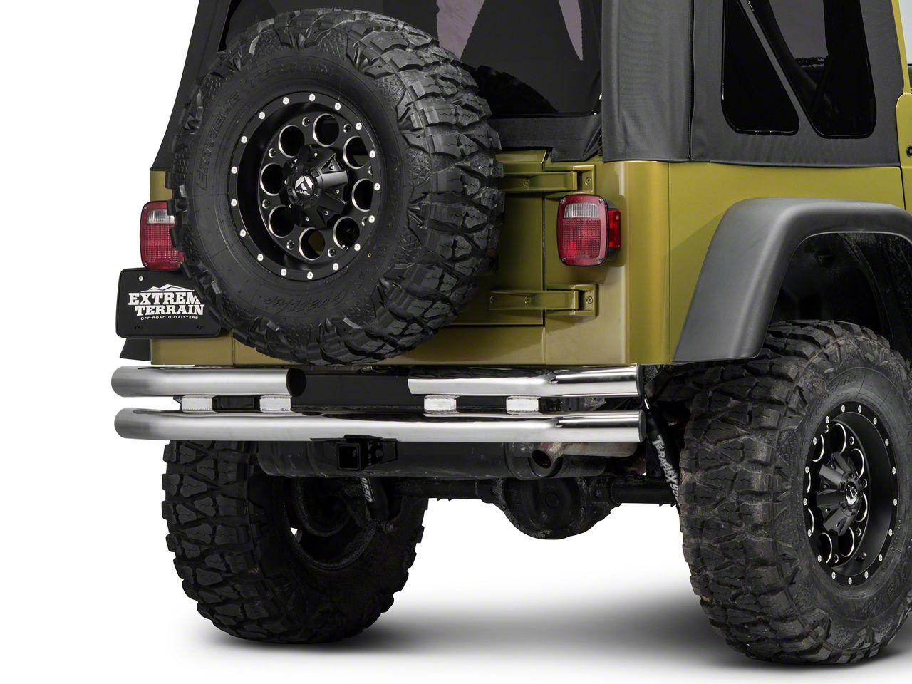 Barricade Double Tubular Rear Bumper w/ Receiver Hitch - Polished (87-06 Jeep Wrangler YJ & TJ)