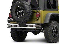 Barricade Double Tubular Rear Bumper with Receiver Hitch; Polished (87-06 Jeep Wrangler YJ & TJ)