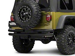 Barricade Double Tubular Rear Bumper with Receiver Hitch; Textured Black (87-06 Jeep Wrangler YJ & TJ)