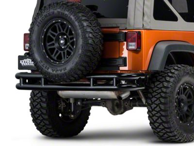 Add Barricade Rear Tubular Bumper w/ Wrap-around - Gloss Black (07-17 Wrangler JK)
