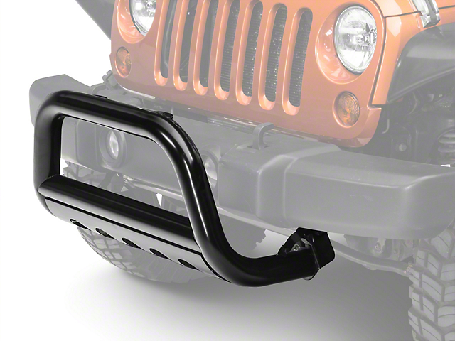 Barricade 3-Inch Bull Bar with Skid Plate; Gloss Black (10-18 Jeep Wrangler JK)