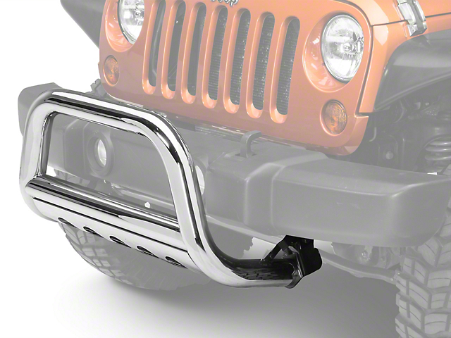 Barricade 3-Inch Bull Bar with Skid Plate; Stainless Steel (10-18 Jeep Wrangler JK)