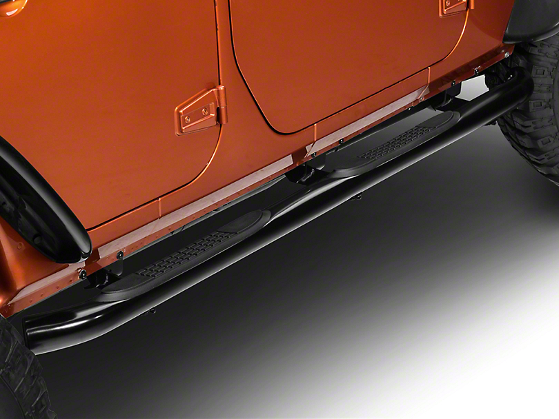 RedRock 4x4 3 in. Curved Round Side Step Bars - Gloss Black (07-18 Wrangler JK 4 Door)