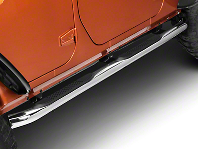 RedRock 4x4 3 in. Curved Round Side Step Bars - Stainless Steel (07-18 Wrangler JK 4 Door)