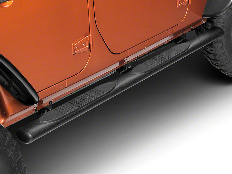 RedRock 4x4 4 in. Oval Straight Side Step Bars - Textured Black (07-18 Jeep Wrangler JK 4 Door)