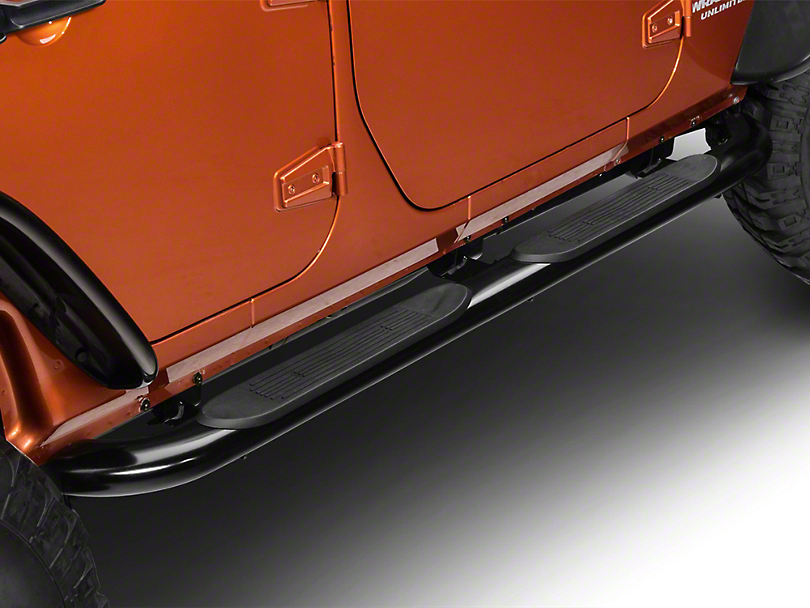RedRock 4x4 4 in. Curved Oval Side Step Bars - Gloss Black (07-18 Wrangler JK 4 Door)