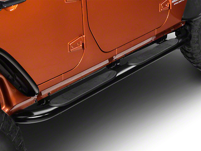 RedRock 4x4 4-Inch Oval Curved Side Step Bars; Semi-Gloss Black (07-18 Jeep Wrangler JK 4 Door)