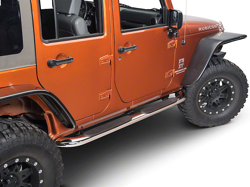 RedRock 4x4 4 in. Curved Oval Side Step Bars - Stainless Steel (07-18 Jeep Wrangler JK 4 Door)